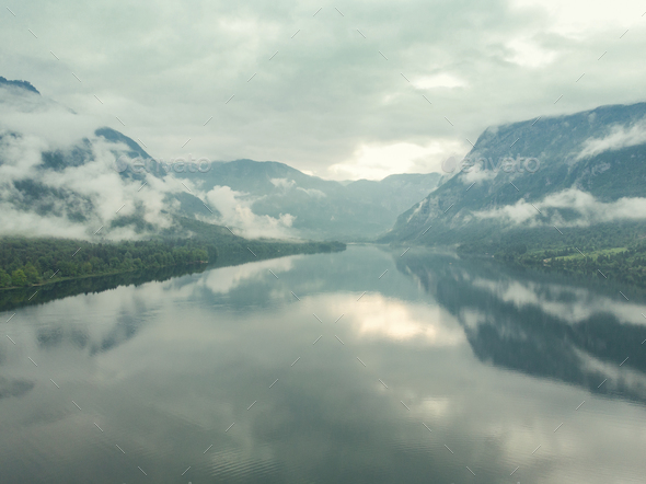 Aerial drone view of Bohinj Lake in Slovenia after storm - Stock Photo - Images