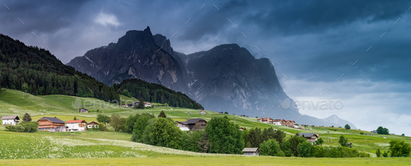 Panoramic dramatic image of scenery in the Dolomites. Summer in - Stock Photo - Images