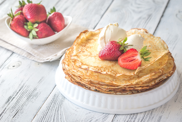 Crepes with cream cheese - Stock Photo - Images