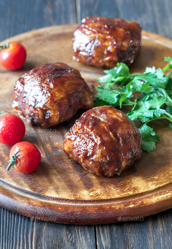 Meatballs wrapped in bacon  - Stock Photo - Images