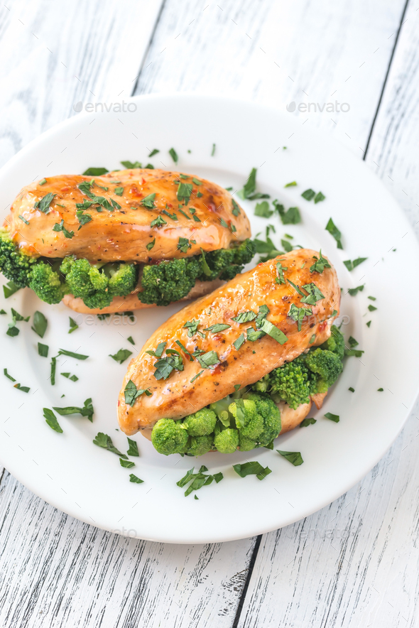 Broccoli stuffed chicken breast - Stock Photo - Images