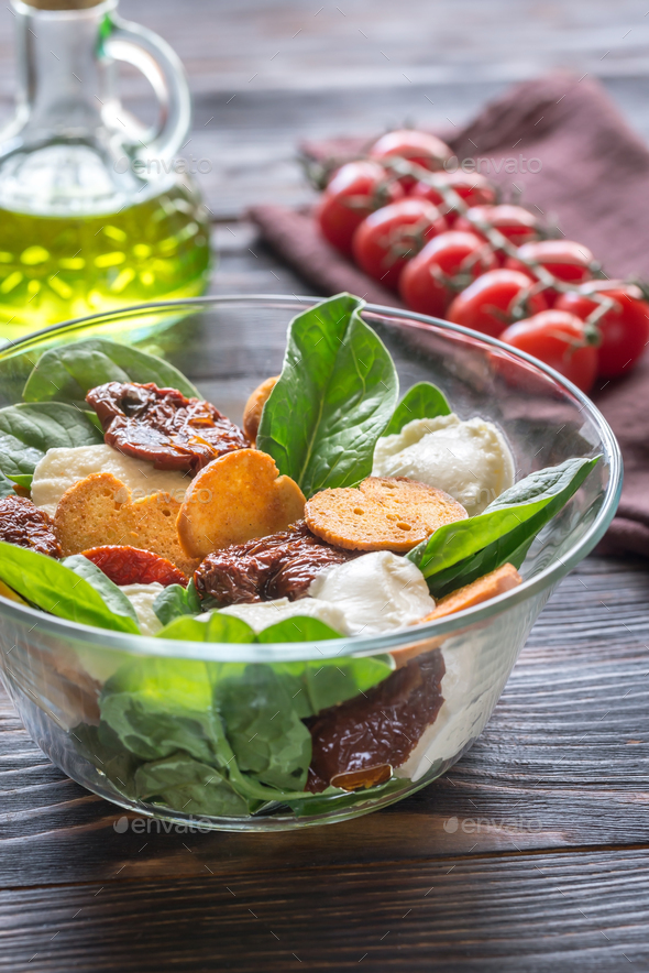 Salad with sun-dried tomatoes - Stock Photo - Images