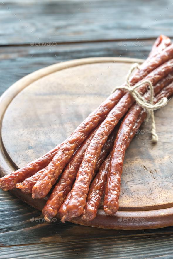 Smoked kabanosy sausages - Stock Photo - Images