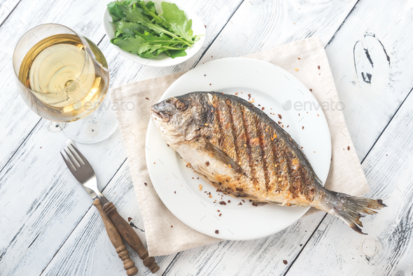 Grilled gilt-head bream - Stock Photo - Images