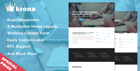 Blue Crown – One Page Parallax