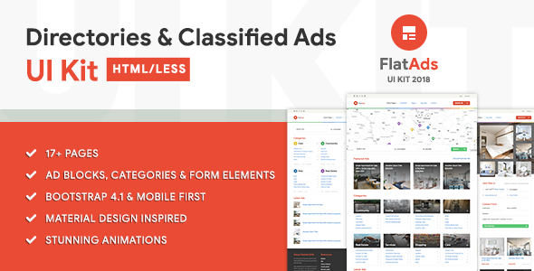 Image of FlatAdsUI - Directories & Classified Ads HTML/LESS UI Kit