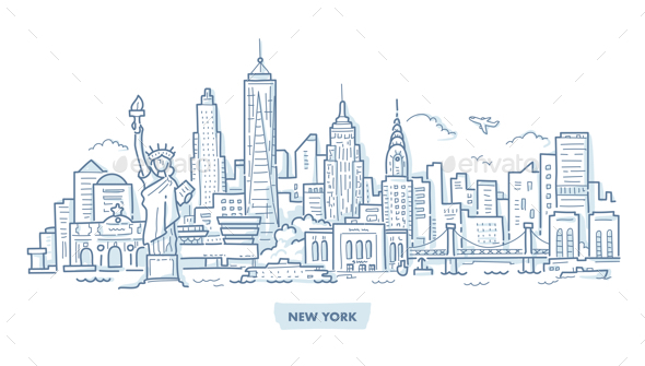 New York Cityscape Doodle - Buildings Objects