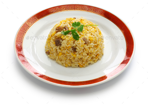 fried rice, chinese cuisine isolated on white background - Stock Photo - Images