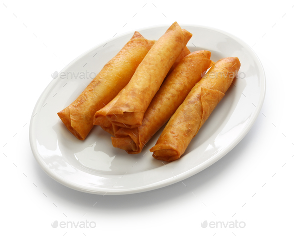 spring rolls, chinese cuisine isolated on white background - Stock Photo - Images