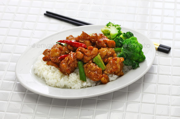 general tso's chicken with rice, american chinese cuisine - Stock Photo - Images