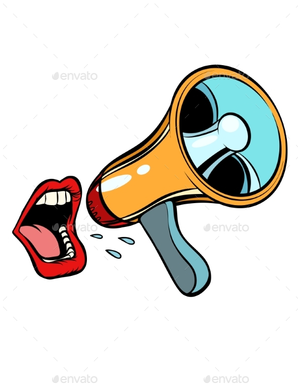 Mouth Screaming Into a Megaphone - Miscellaneous Vectors