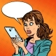 Shocked Woman Reading a Smartphone - GraphicRiver Item for Sale
