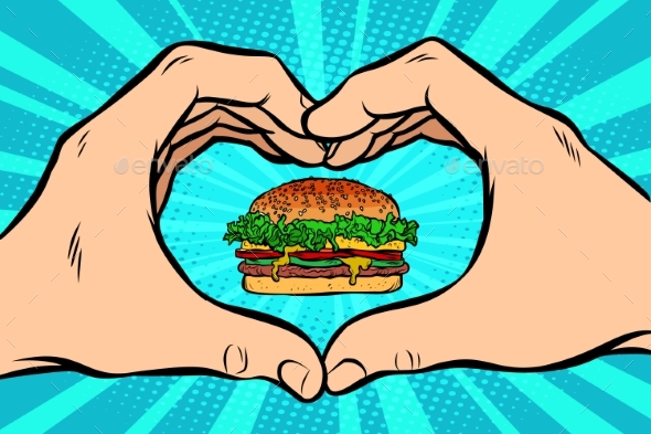 Burger with Hand Gesture of Heart - Food Objects