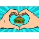 Burger with Hand Gesture of Heart