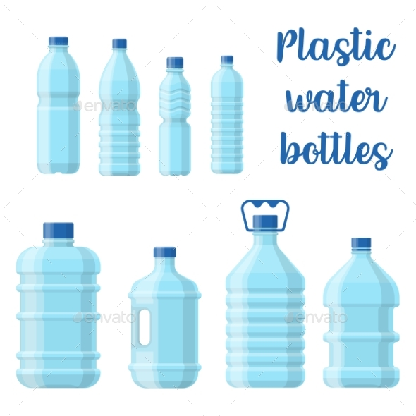 Bottle for Water or Plastic Container for Aqua - Food Objects