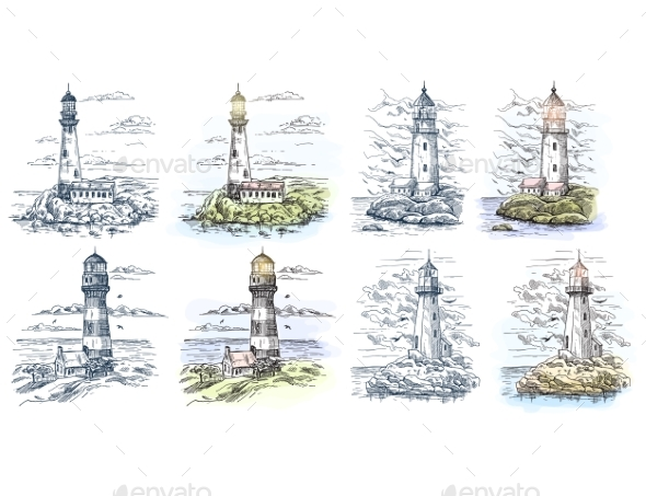 Sketches of Lighthouse for Sea or Ocean Banner - Buildings Objects