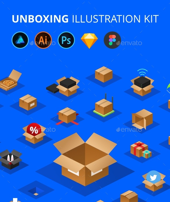 Unboxing Illustration Kit - Objects Icons