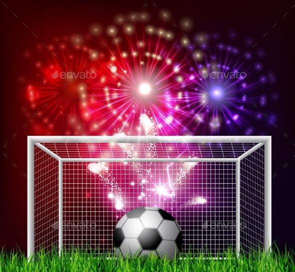 Football Arena with a Soccer Ball - Sports/Activity Conceptual