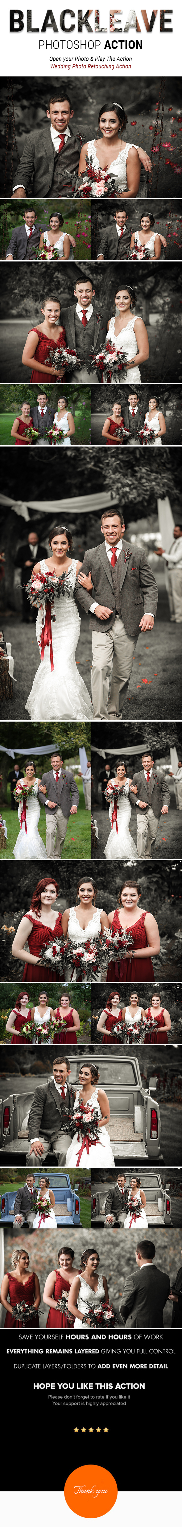 BLACK LEAVE | Special Effects Photoshop Action for Wedding Photographer - Photo Effects Actions