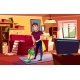 Man Cleaning Living Room Vector Illustration