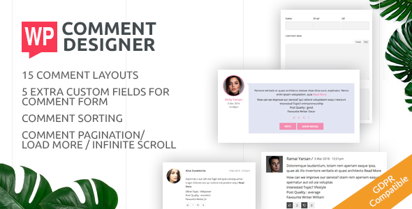 WP Comment Designer- Customize And Design WordPress Comments And Comment Form - CodeCanyon Item for Sale