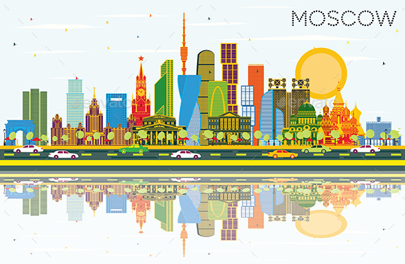 Moscow Russia City Skyline with Color Buildings, Blue Sky and Reflections. - Buildings Objects