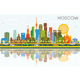 Moscow Russia City Skyline with Color Buildings, Blue Sky and Reflections. - GraphicRiver Item for Sale