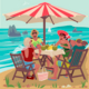 Two Couples Eating on Tropical Beach - GraphicRiver Item for Sale