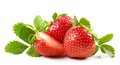 fresh red strawberries with green leaves - PhotoDune Item for Sale