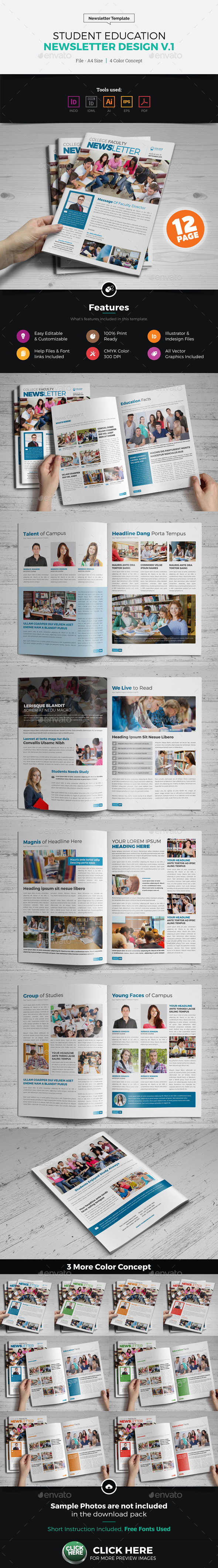 Student Education Newsletter Design - Newsletters Print Templates