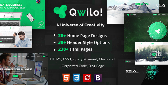 Image of Qwilo - Multi-purpose Responsive HTML5 Template