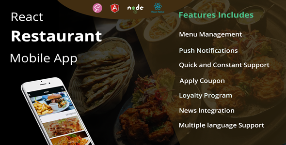 React Native Restaurant Mobile App            Nulled