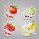 Vector Realistic Berries, Fruits in Milk - GraphicRiver Item for Sale