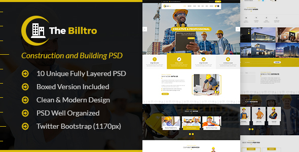 The Billtro - Construction PSD Template