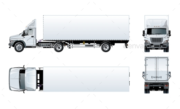 Vector Semi Truck Template Isolated on White - Man-made Objects Objects