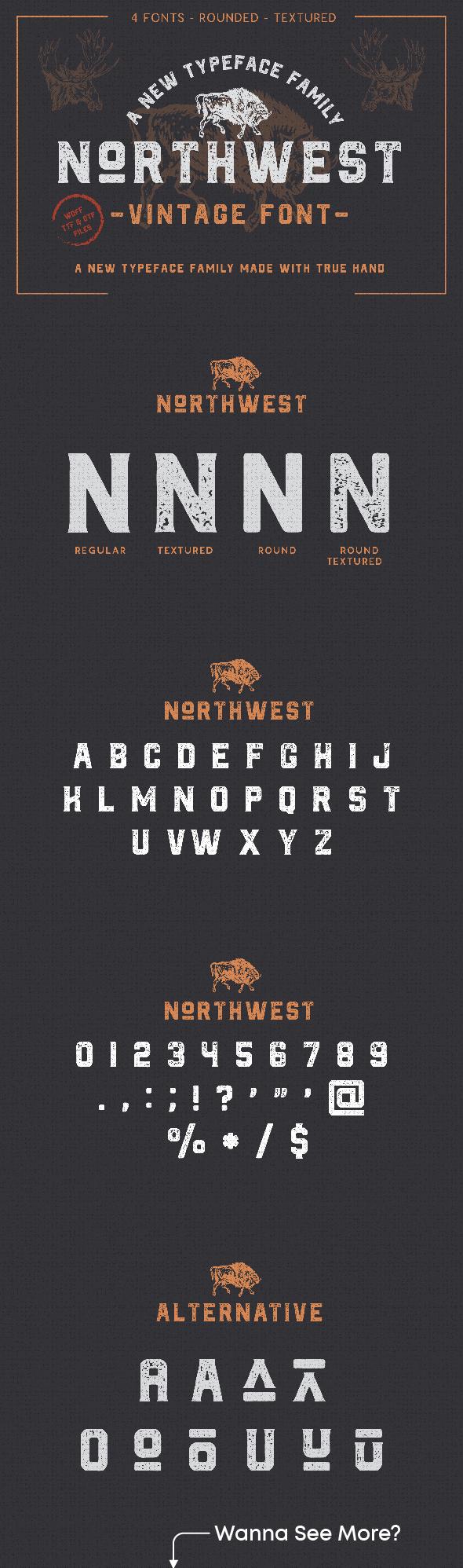 The Northwest - Vintage Font - Sans-Serif Fonts