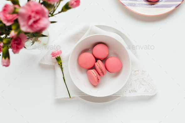 Strawberry Macarons on White Table - Stock Photo - Images