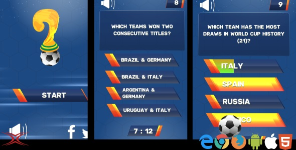 Football World Cup Quiz - HTML5 Game            Nulled