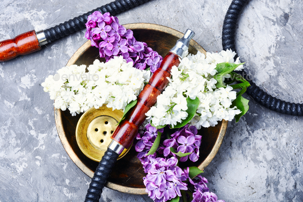 Asian tobacco hookah with floral aroma - Stock Photo - Images