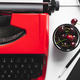 Workplace with bright red vintage typewriter - PhotoDune Item for Sale