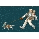 Astronaut Walking Dog in a Space Suit - GraphicRiver Item for Sale
