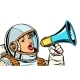 Woman Astronaut with Megaphone Isolate on White