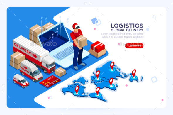 Industry of Shipment and Web Delivery - Vectors