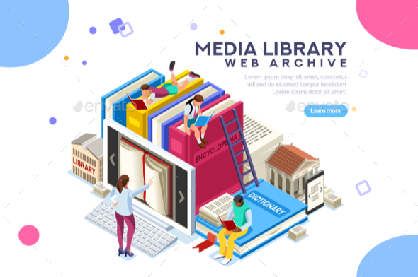 Media Library Vector Illustration - Web Technology