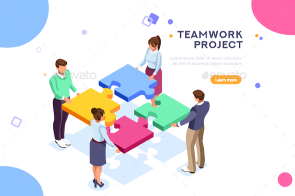 Teamwork Project Illustration - Concepts Business
