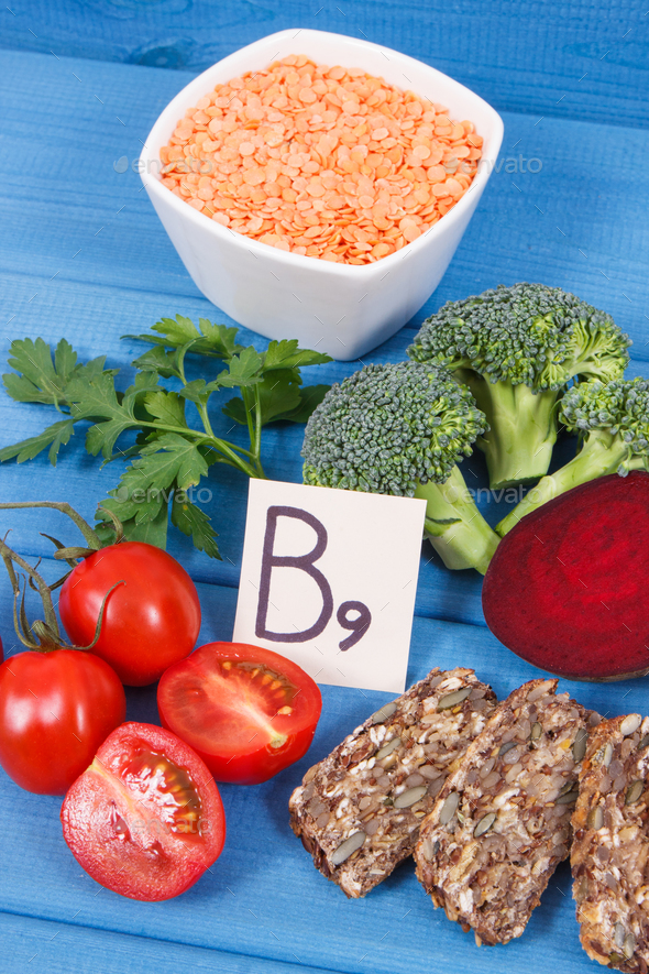 Nutritious different ingredients containing vitamin B9, natural minerals and folic acid - Stock Photo - Images