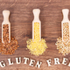 Gluten free inscription with various groats on rustic board, healthy food concept - PhotoDune Item for Sale