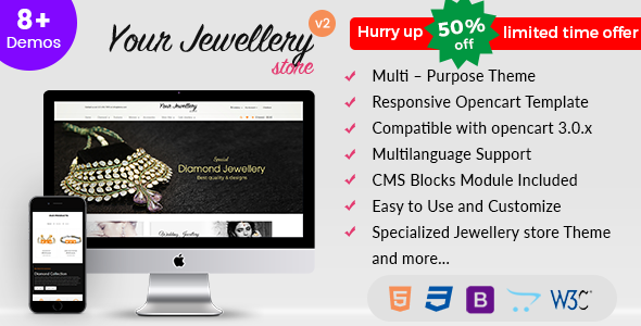 Responsive OpenCart Theme Template - Jewelry - OpenCart eCommerce