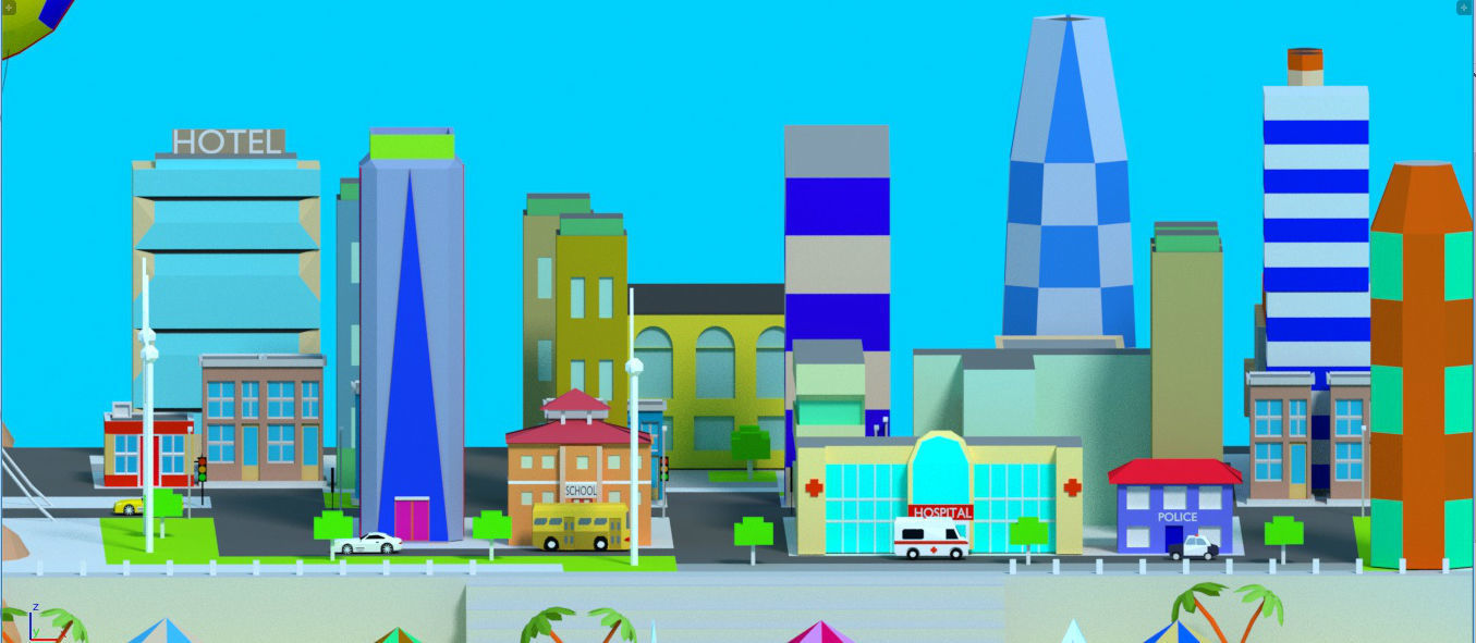 low poly The diverse city