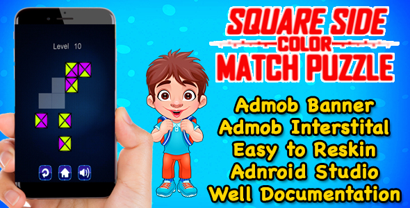 Square Side Color Puzzle Game Kids And Adults + Admob + Android Studio Project - CodeCanyon Item for Sale